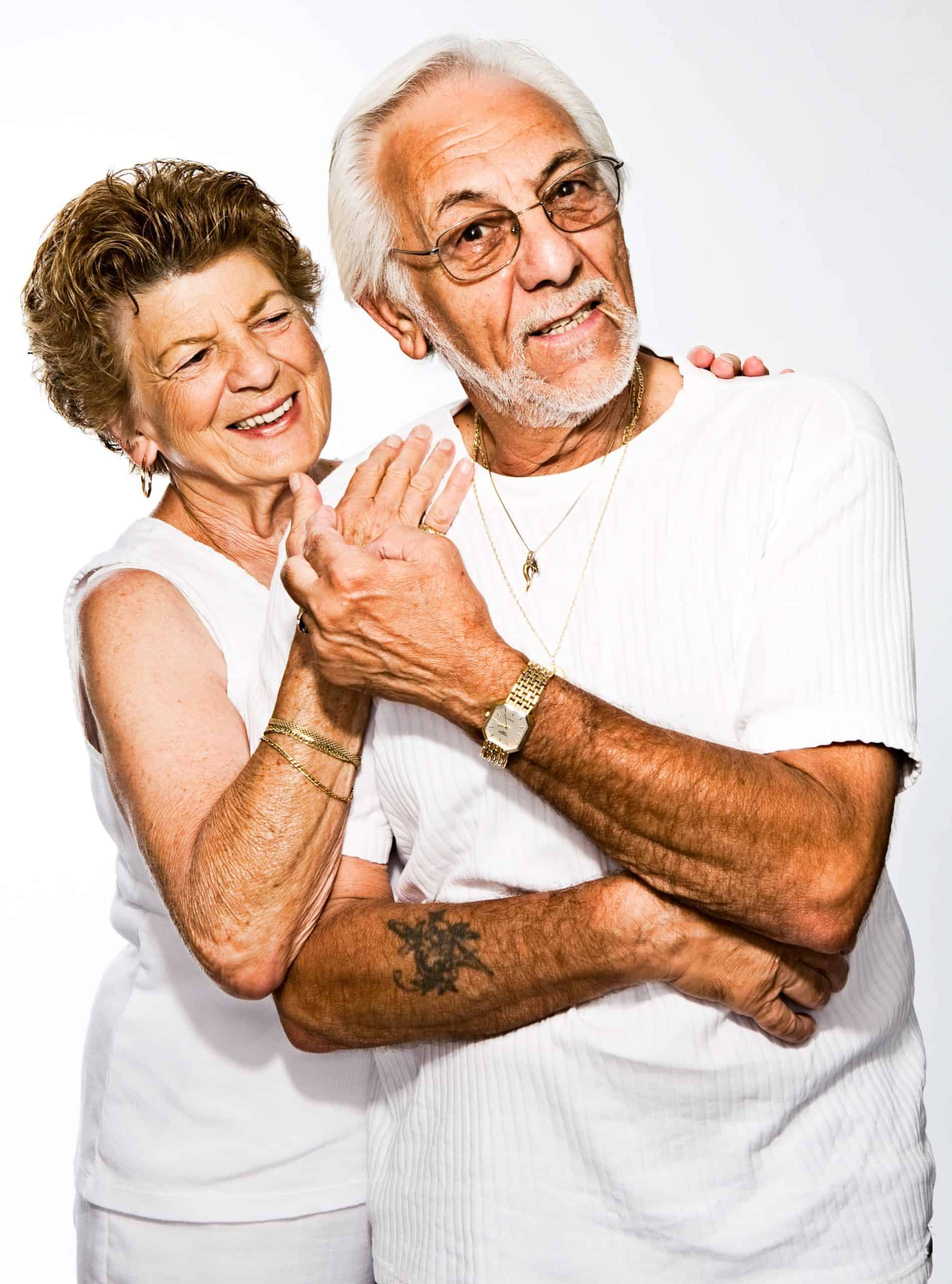 older couple hugging