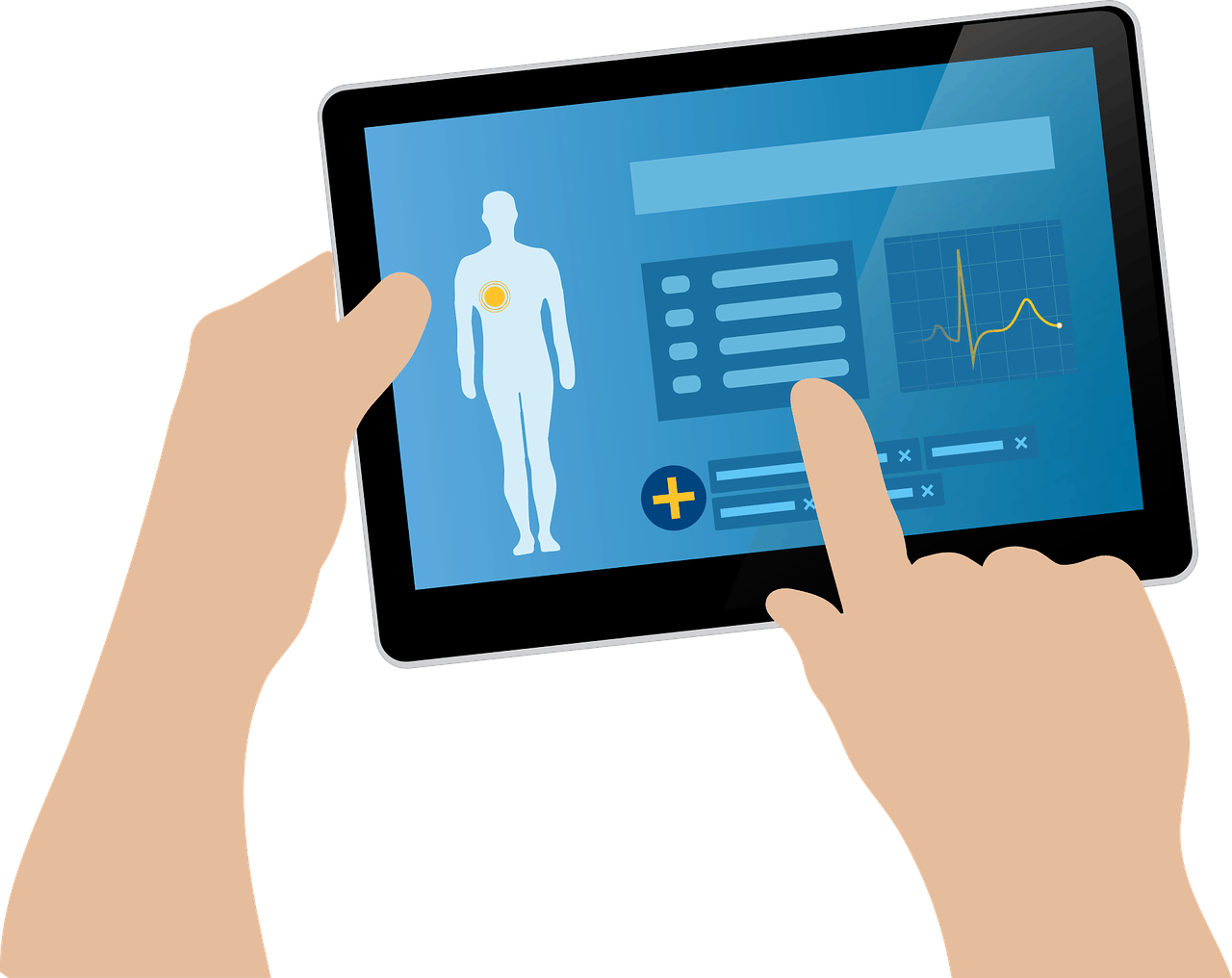 graphic of a tablet with medical chart information on the display